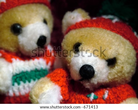 A couple of Christmas tree ornament bears