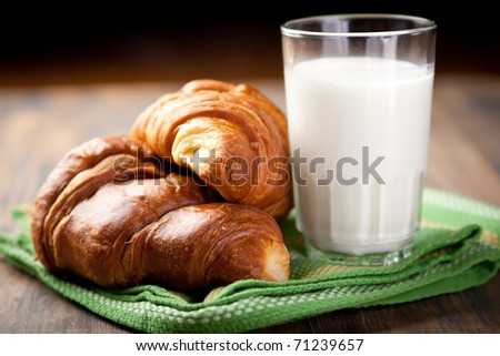 A couple of croissants and a glass of milk