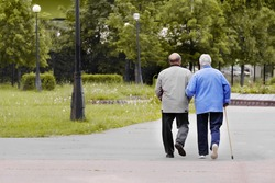 A couple of elderly people walk in the park.