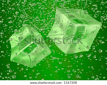 A couple of ice cubes swimming in green drink. Photorealistic 3D rendering. - stock photo