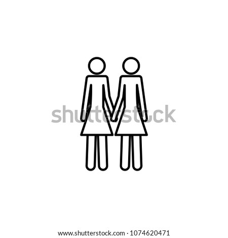 a couple of lesbians icon. Element of LGBT illustration. Premium quality graphic design icon. Signs and symbols collection icon for websites, web design, mobile app on white background #1074620471