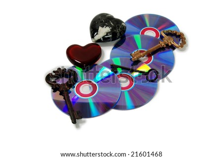 A couple of purple dvds with red interiors, Keys representing unlocking an idea, treasure, or love, Marble Heart with black and white veins