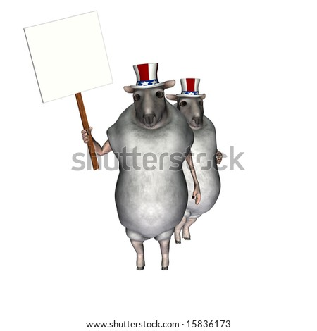 A couple of sheep, wearing a red, white, and blue hats, to represent American voters carrying a blank sign. Political humor.