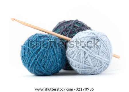 Couple Of Yarn Balls With Crochet Needle Stock Photo 82178935 ...