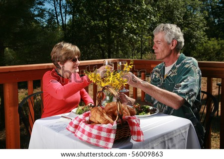 "a couple toast a glass of wine at an outdoor cafe or ""bed and breakfast"""