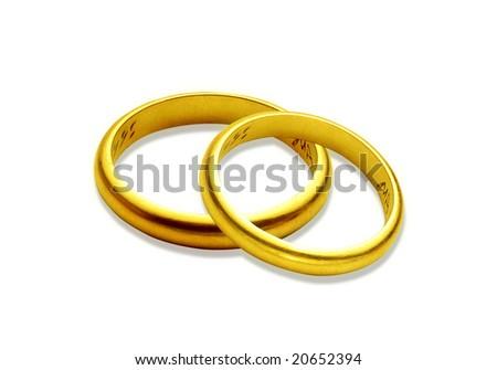 a couple wedding rings on white background - stock photo