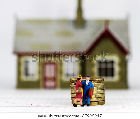 A couple who have just been evicted from there house carrying suitcases, also a pile of gold coins placed in front signifying the debt they are leaving behind.