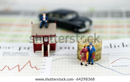A couple with suitcases walking away from their house & mortgage after a bank has repossessed their house, with the bank manager sitting pretty on top of their house with his flash car parked nearby.