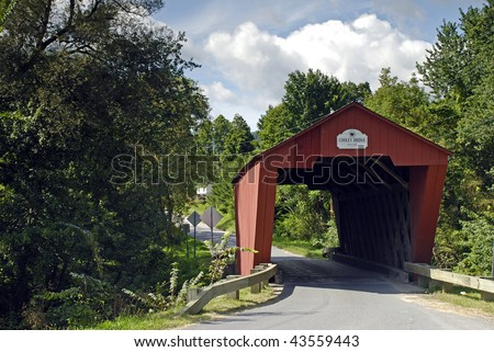 A Covered bridge in the Vermont countryside.  Cooley Bridge, built 1849.