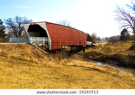 A covered bridge in Winterset, Iowa