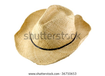 A cowboy hat isolated on white background, horizontal with copy space