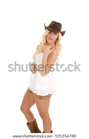 A cowgirl in her shorts, tank and western hat with a shocked expression on her face.