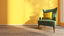 A cozy armchair with cushion pillow set beside a floor to ceiling window with evening sunlight shine through in a yellow living room. 3D rendering image, Mustard, Sample color Concept.
