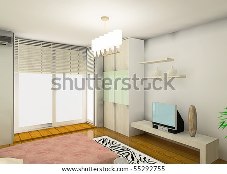 Cozy Bedroom Design Proposal Stock Photo 55292755 : Shu