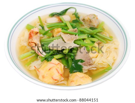 A crab noodle soup bowl