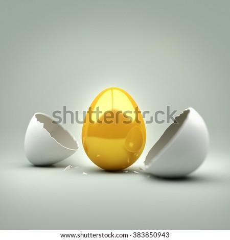 A cracked egg revealing a new golden egg. 3D Illustration Stock photo ©