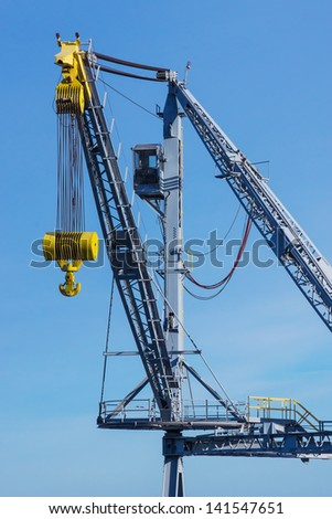 A crane used to unload cargo from the holds of ships visiting the Port of Cleveland on Lake Erie