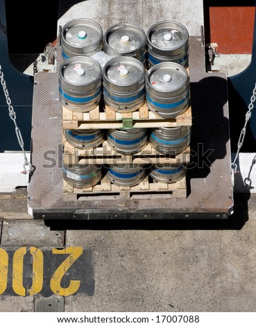 A crate of supplies ready to be brought on board a ship