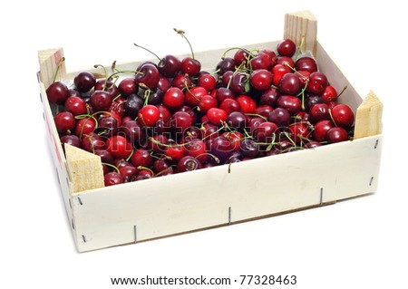 a crate with cherries on a white background
