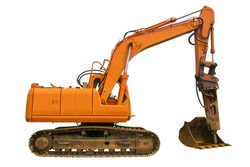 A crawler excavator with a rotating house platform and continuous track isolated on a white background. Side view