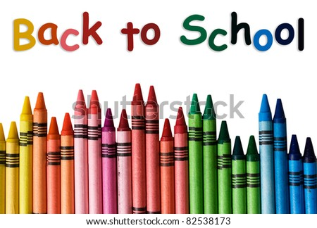 A crayon border isolated on white background with words back to school