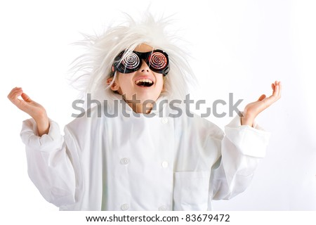 A crazed mad child scientist with a happy expression weird glasses and a wild white hair style.