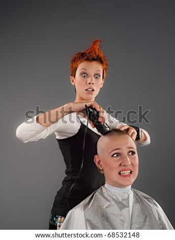 A crazy hairdresser shaves a girl off her hair