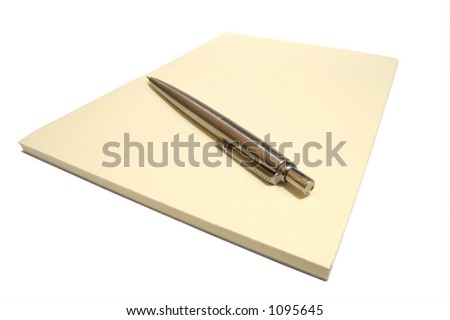 A cream notepad and a pen