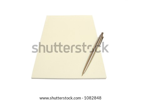 A cream notepad with a pen