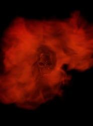 A creative burning skull design wallpaper.