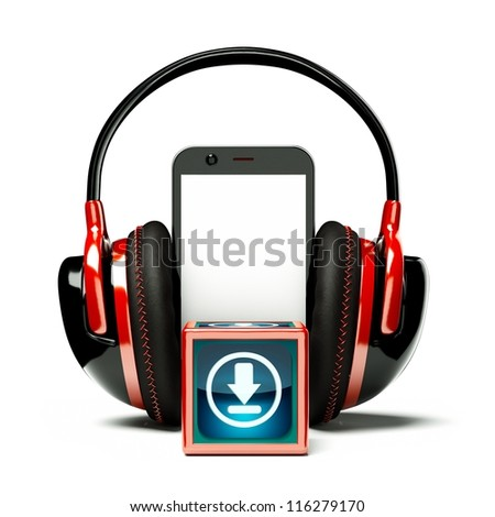 a creative cellphone with headphones isolated on white, portable audio concept