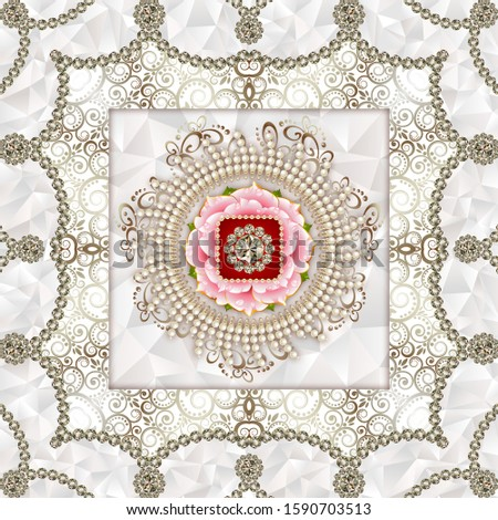 A creative designation of big round diamond in the middle with pink flower and white pearl for floor, bottom, wall, TV backdrop, or receptionist backdrop decoration. 3D rendering