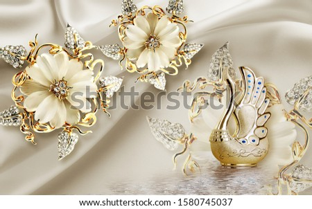 A creative golden duck with gem and flower background for wall decoration. 3D rendering