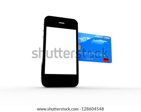 A credit card enter in a smartphone: Online payments concept