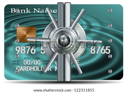 A credit card with a vault locking mechanism on it / Credit card security