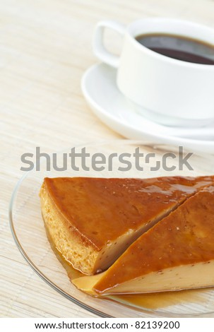 a creme caramel and coffee