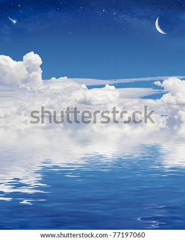 A crescent moon and shooting star above a sky of clouds reflected in a calm sea.