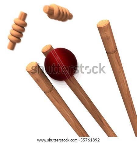 a cricket ball striking bails