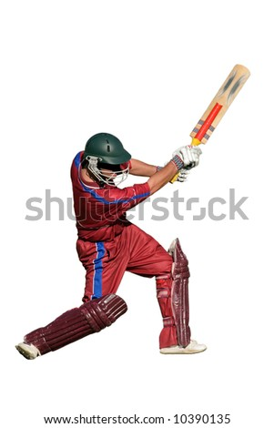 A cricket batsman in action, isolated on white