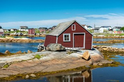 A crooked fishing shed in Tilton, Fogo Island, Newfoundland