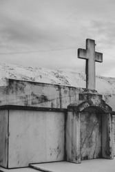 A cross on a cemetery