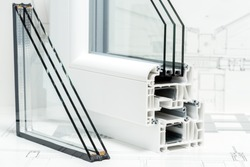 A cross section of window Design of pvc profiles for window, triple glazing cross selection, technical drawing on background