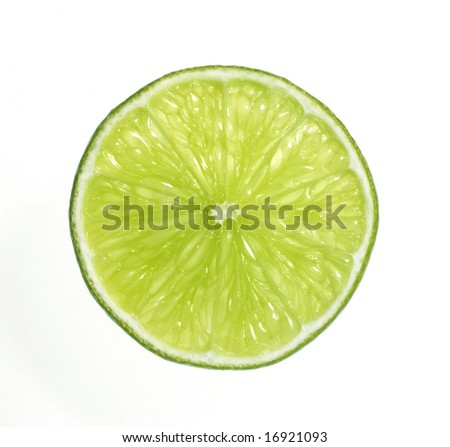A cross sectional slice of a Lime fruit