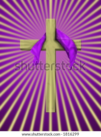 A cross with purple cloth and rays beaming