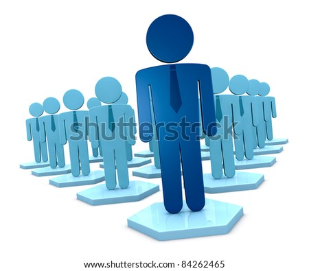 a crowd of 3d man that represent a teamwork with a leader (3d render)