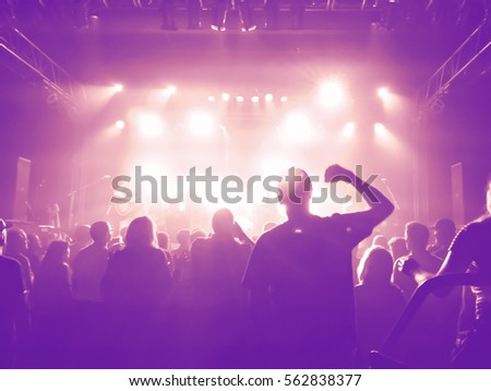 a crowd of people at a concert with a slight blur toned with a retro vintage instagram filter effect