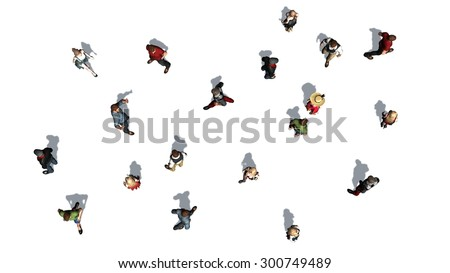 a crowd of people in top-view isolated on white background