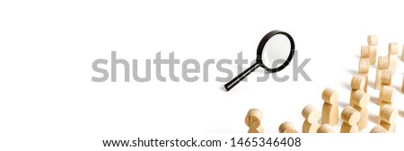 A crowd of people looking at the magnifying glass. Search and tracing concept, find out the truth. Find a solution to the problem. Expedition, research, review and exloration. Search for work, leisure #1465346408