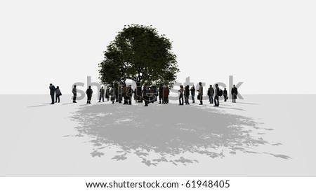 a crowd of people standing around a tree
