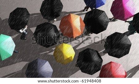 a crowd of people walking in the rain